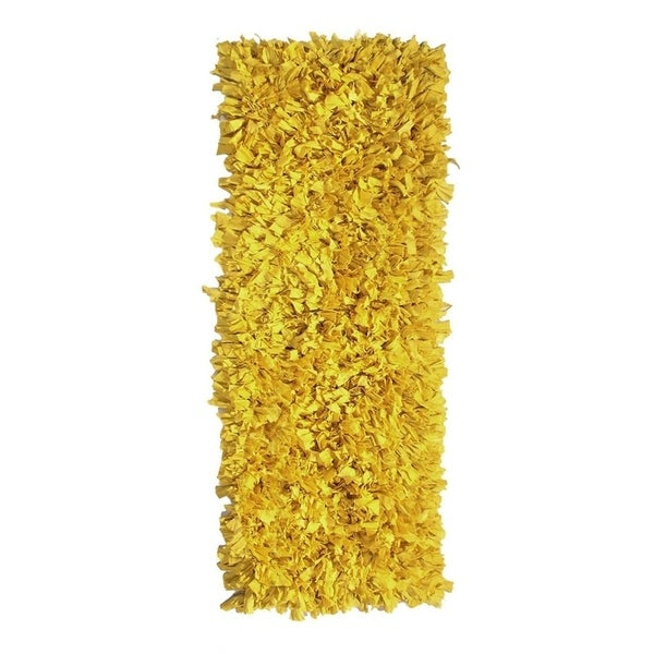 Hand-knotted Jersey Yellow Shaggy Cotton Runner Rug (2' x 6')