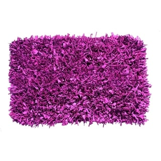 Hand-knotted Jersey Purple Cotton Shag Rug (2' x 3')