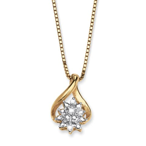 Diamond Accented Cluster Pendant Necklace in 18k Gold over Sterling Silver