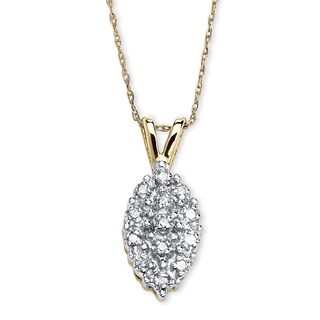 1/10 TCW Pave Diamond Cluster Pendant Necklace in 10k Yellow Gold