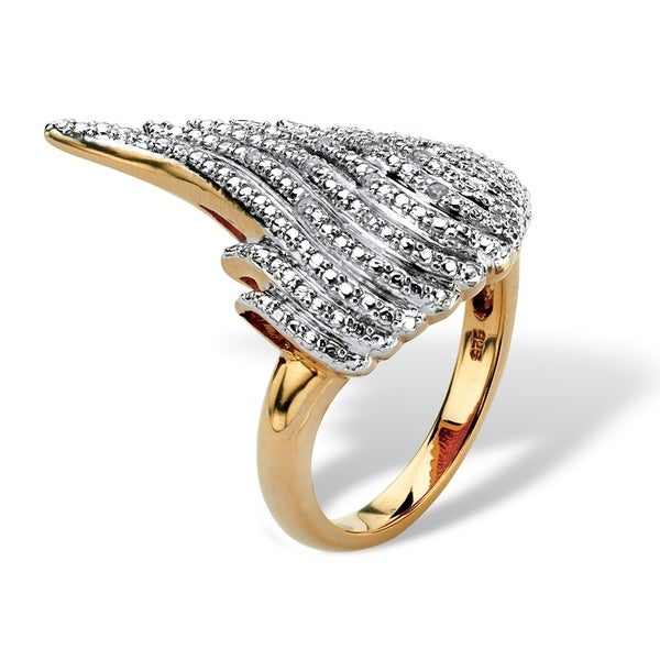 PalmBeach Gold over Silver Diamond Accent Wing Ring