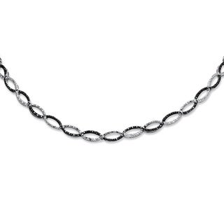 1/5 TCW Black and White Diamond Necklace in Silvertone 17""