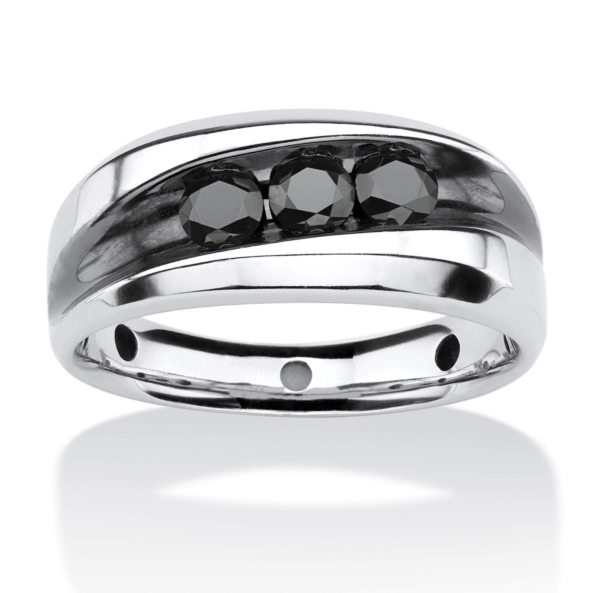 Men S 3 4 Tcw Channel Set Black Diamond Ring In Platinum Over Sterling Silver Overstock 8985219