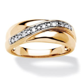 Men's 18k Gold over Sterling Silver 1/10 TDW Round Diamond Wave Ring