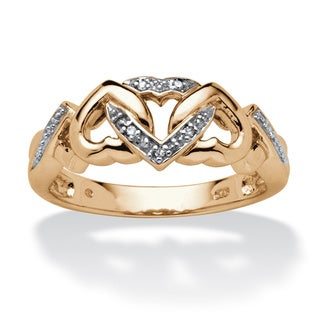 PalmBeach Diamond Accent Interlocking Hearts Ring in 18k Gold over Sterling Silver