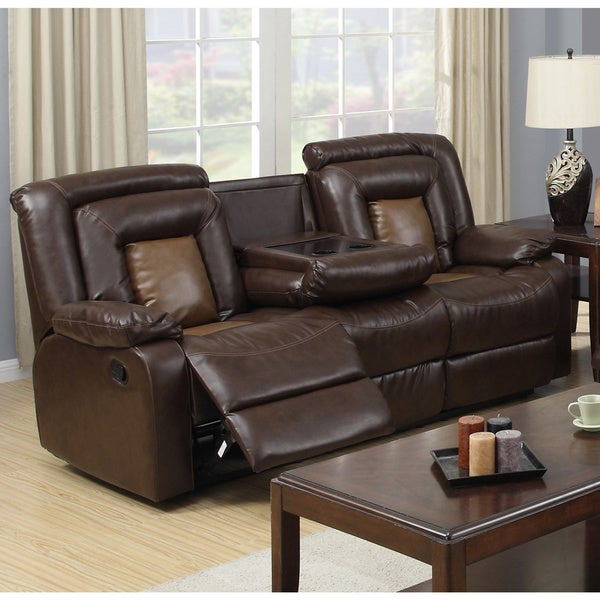 Gapson Brown Bonded Leather Drop Down Table Reclining Sofa