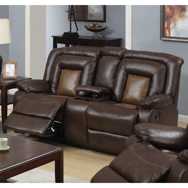 Shop Gapson Brown Bonded Leather Central Console Reclining