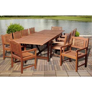 Amazonia Ashley 11-piece Eucalyptus Wood Double Extendable Rectangular Dining Set