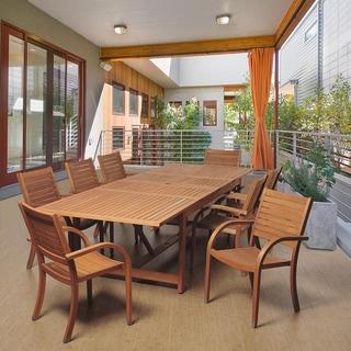 Amazonia Sharon 9-piece Eucalyptus Wood Double Extendable Rectangular Dining Set