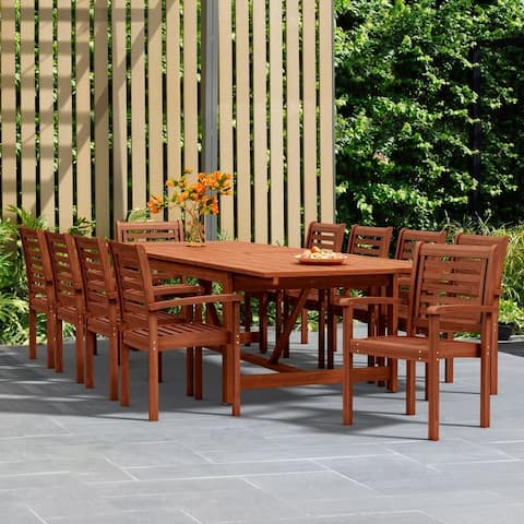 Tottenville 11-piece Dining Wood Double Extendable Set by Havenside Home