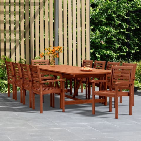 Havenside Home Tottenville 11-piece Dining Wood Double Extendable Set