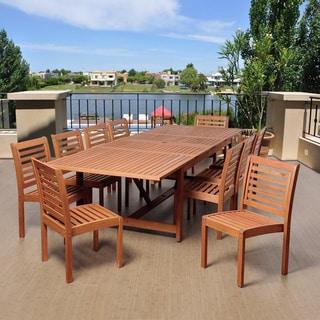 Amazonia Nadia 11-piece Eucalyptus Wood Double Extendable Rectangular Dining Set