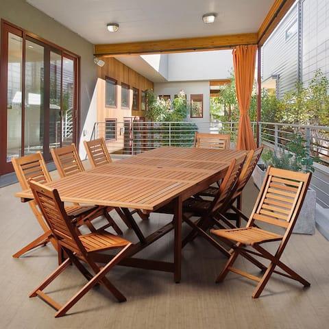 Amazonia Lucille 9-piece Dining Eucalyptus Wood/ Wicker Double Extendable Rectangular Dining Set