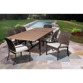 Amazonia Iris 9-piece Eucalyptus and Wicker Double Extendable Rectangular Dining Set with Off-white Cushions