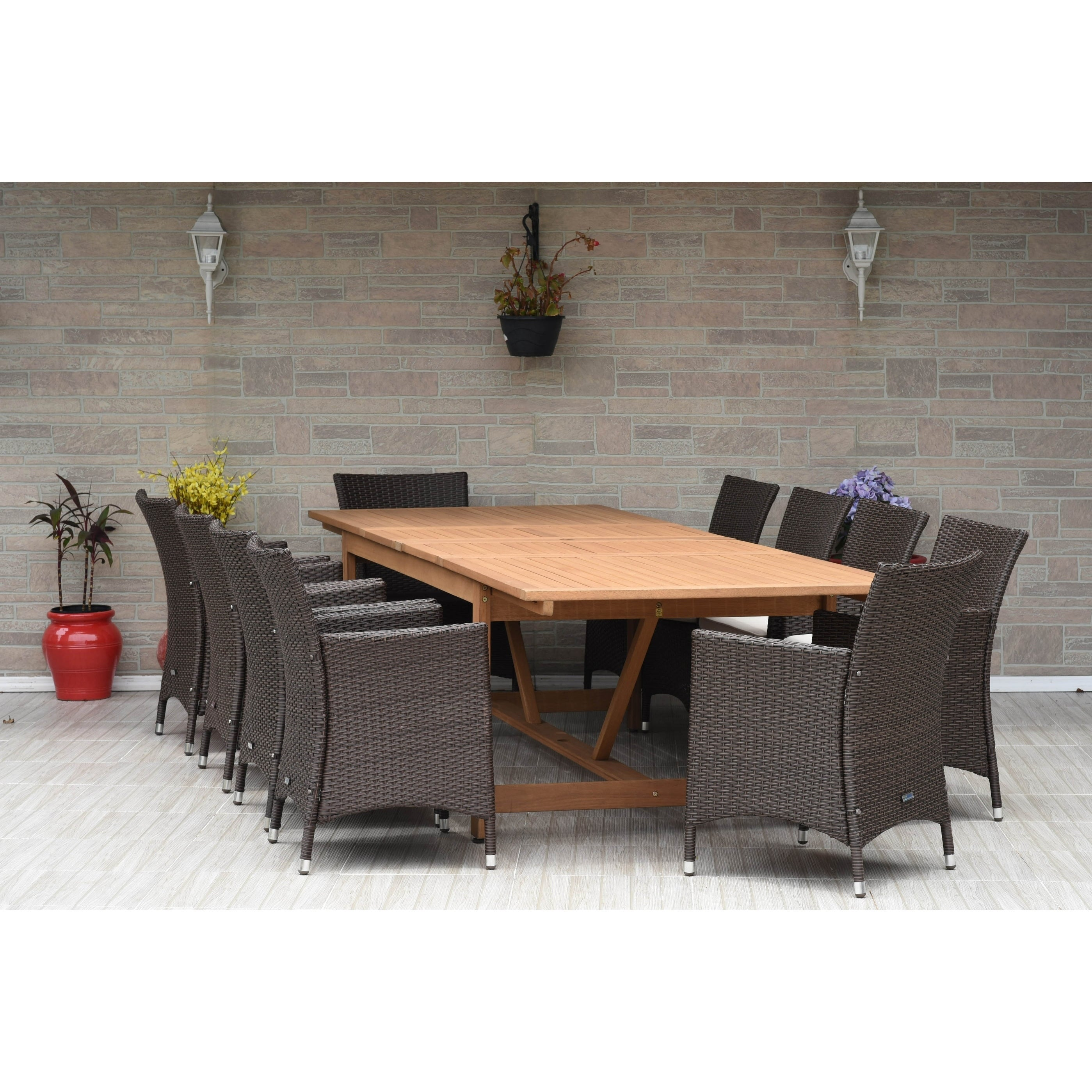 Amazonia Stacy 11-pc Wood & Wicker Double Extendable Dini...