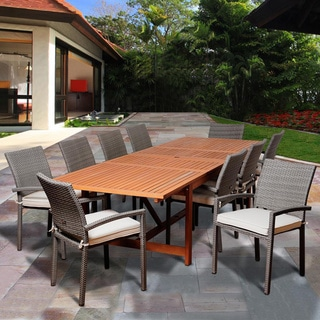 Amazonia Tiffany 11-piece Eucalyptus/ Wicker Double Extendable Rectangular Dining Set with Off-whtie Cushions