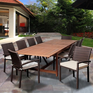 Amazonia Audrey 11-piece Dining Eucalyptus Wood/ Wicker Double Extendable Rectangular Dining Set with Off-white Cushions