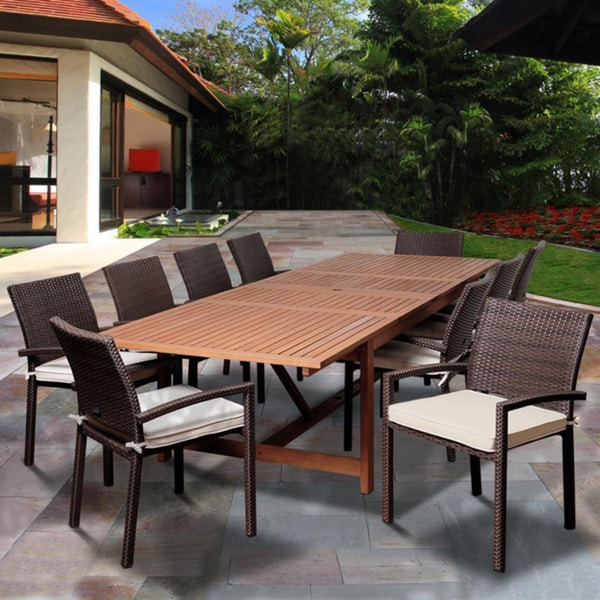 Amazonia Audrey 11-piece Dining Eucalyptus Wood/ Wicker Double Extendable Rectangular Dining Set with Off-white Cushions. Opens flyout.