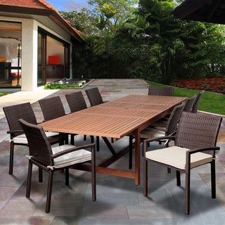 amazonia audrey 11piece dining eucalyptus wood wicker double extendable rectangular dining set with