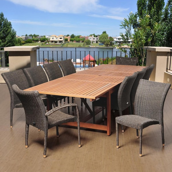 Amazonia Melissa 11-piece Distressed Grey/ Brown Extendable Dining Set