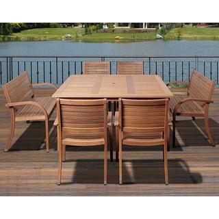 Amazonia Riviera 7-piece Brown Eucalyptus Wood Outdoor Dining Set