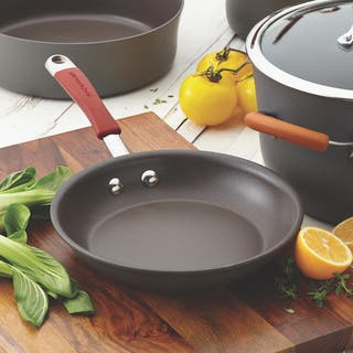 Rachael Ray Cucina Grey/ Cranberry Hard-anodized Non-stick 2-piece Skillet Set|https://ak1.ostkcdn.com/images/products/8985315/P16191298.jpg?impolicy=medium