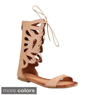 Refresh Women's 'Ongee-10' Mid-calf Cut-out Gladiator Sandals