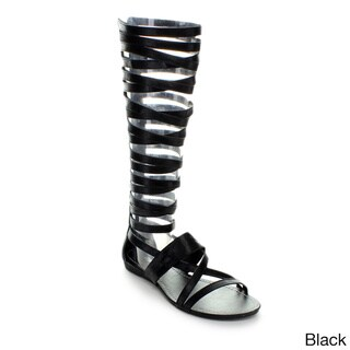Bumper Women's 'Lory-63' Strappy Knee-high Gladiator Sandals