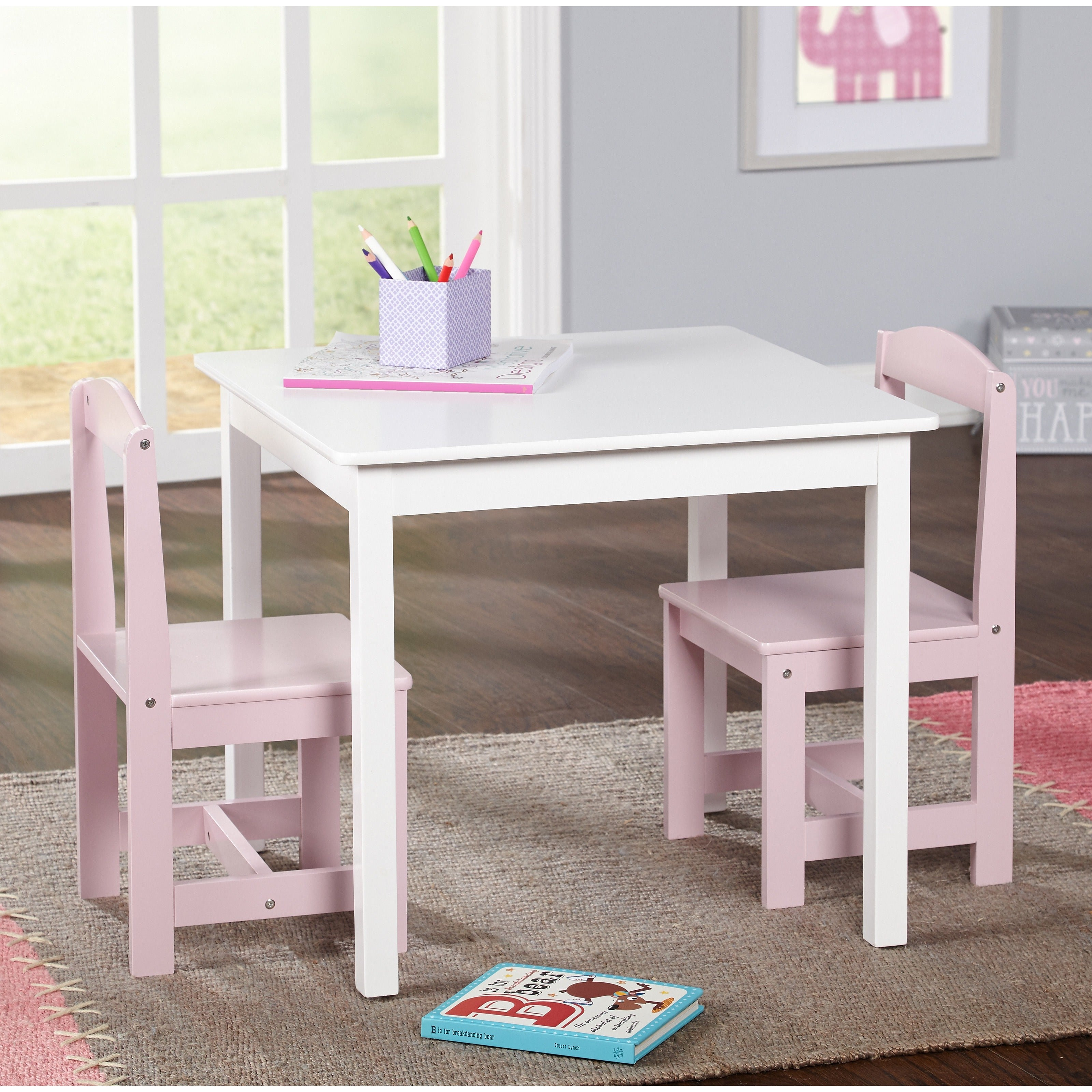 Simple Living Hayden Kids' Pink/ White 3-piece Table and ...