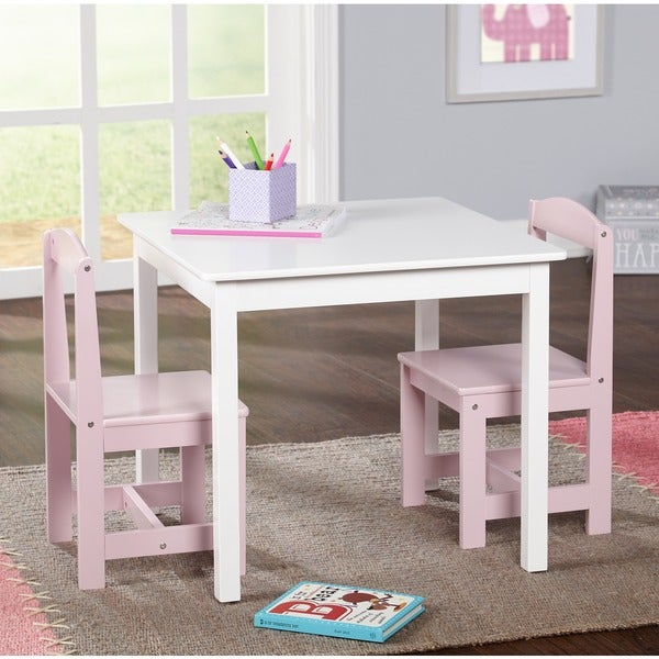 Simple living hayden kids 39 pink white 3 piece table and for Minimalist living with kids