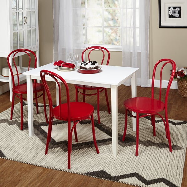 Simple Living Vintage Occasion Red White 5 Piece Dining