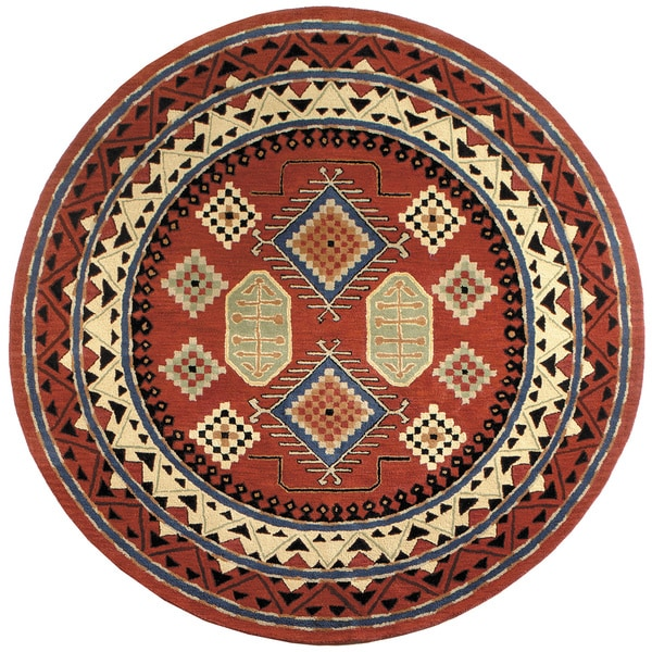 Hand Tufted Agra Red Gold Wool Rug 8 Round: Red Bravura Hand-tufted Round Wool Rug (8' X 8')