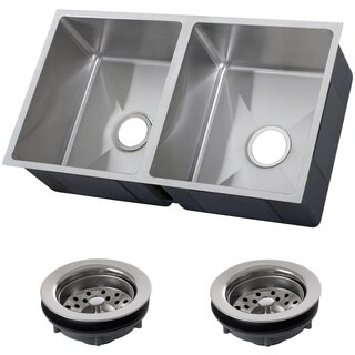 Ticor 32-inch 16-gauge Stainless Steel Double Bowl Tight Radius Undermount Square Kitchen Sink