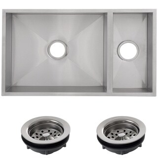 Ticor 32-inch 16-gauge Stainless Steel Double Bowl Undermount Square Kitchen Sink