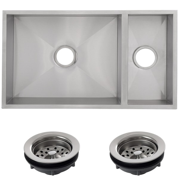 Shop Ticor 32-inch 16-gauge Stainless Steel Double Bowl Undermount ...