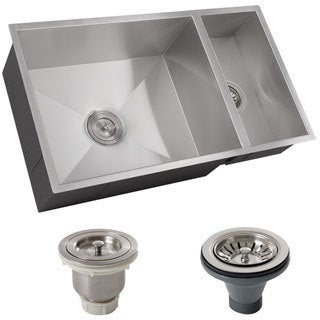 Ticor 32-inch 16-gauge Stainless Steel Double Bowl Zero Radius Undermount Square Kitchen Sink