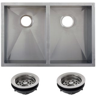 Ticor 29-inch 16-gauge Stainless Steel Double Bowl Undermount Square Kitchen Sink
