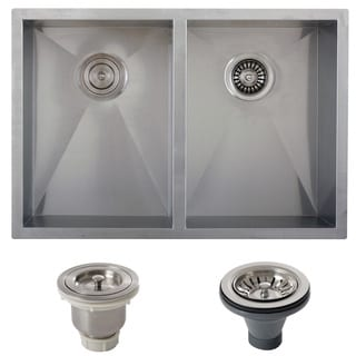 Ticor 29-inch 16-gauge Stainless Steel Double Bowl Zero Radius Undermount Square Kitchen Sink