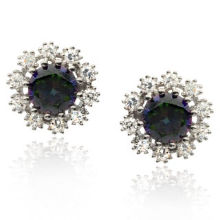Journee Collection Sterling Silver Multicolor Cubic Zirconia Stud Earrings
