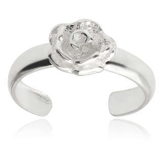 Journee Collection Sterling Silver Adjustable Flower Toe Ring
