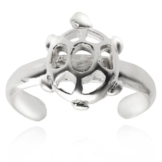 Journee Collection Sterling Silver Adjustable Turtle Toe Ring