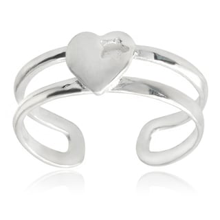 Journee Collection Sterling Silver Adjustable Heart Toe Ring