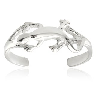 Journee Collection Sterling Silver Adjustable Lizard Toe Ring