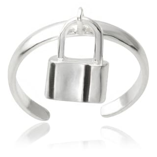 Journee Collection Sterling Silver Adjustable Padlock Toe Ring