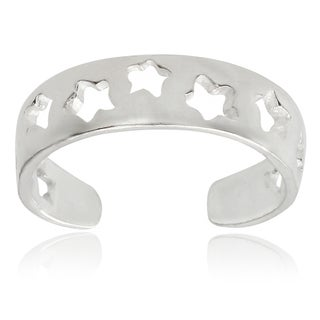 Journee Collection Sterling Silver Adjustable Star Cut-out Toe Ring