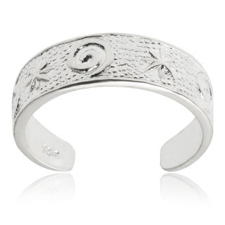 Journee Collection Sterling Silver Adjustable Star Swirl Toe Ring