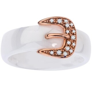 Ceramic Two-tone Sterling Silver Diamond Accent Buckle Ring By Ever One