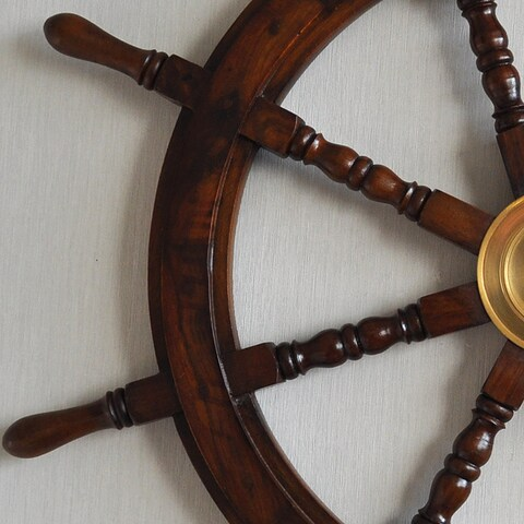 Large Hardwood Nautical Ship Wheel with Brass Center