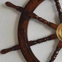 Havenside Home Buckroe Large Hardwood Nautical Ship Wheel with Brass Center