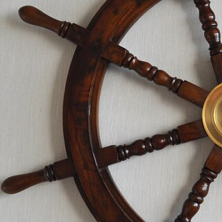 Havenside Home Buckroe Large Hardwood Nautical Ship Wheel with Brass Center